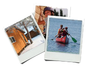 Collage of cabin in winter,  paddling a canoe  on the lake and girl rapelling