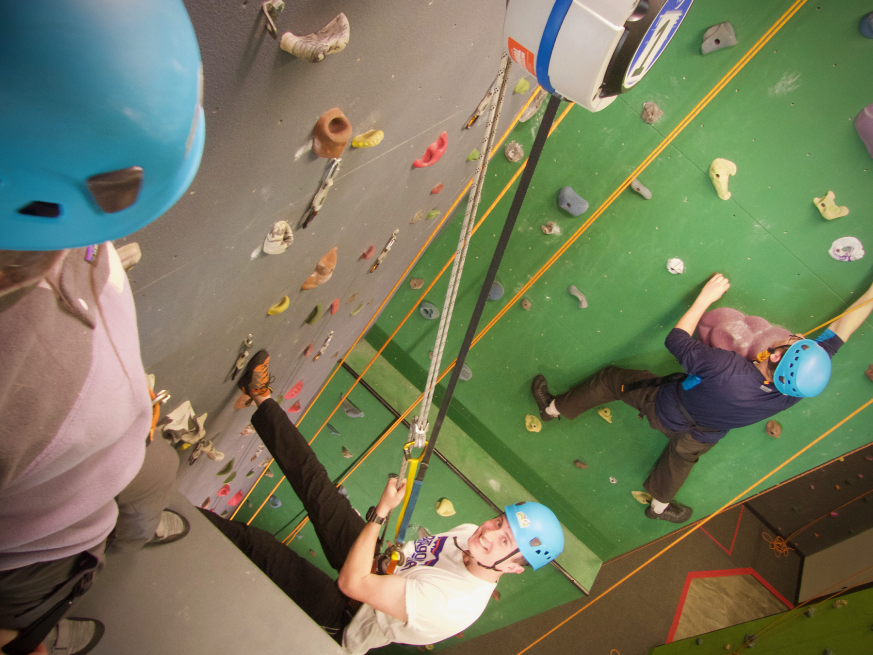 Camper Enjoying Rappelling in the Crag Gym at Medeba Adventure Learning Centre