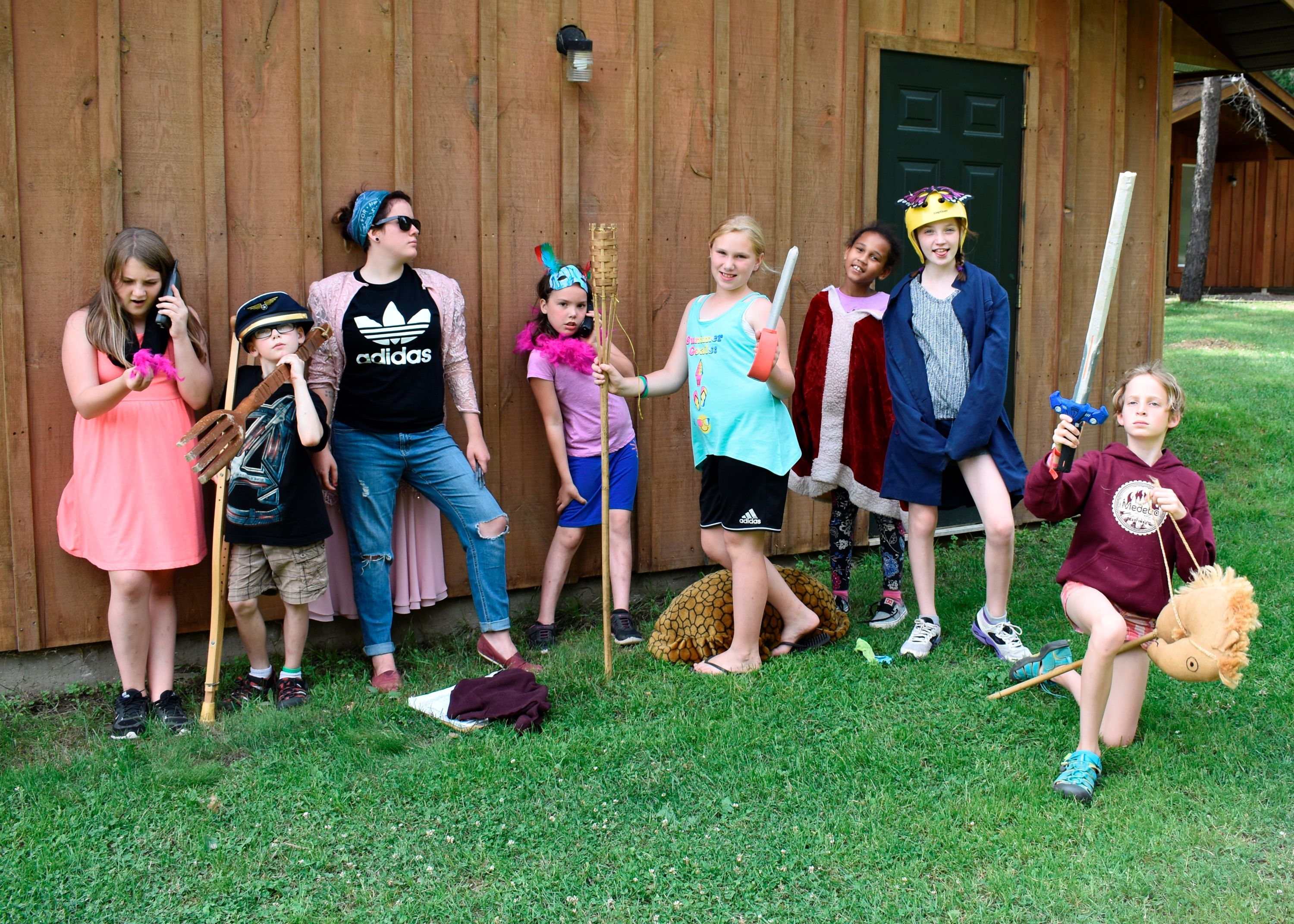 Campers dressed up for drama activity at christian adventure summer camp in Haliburton, Ontario