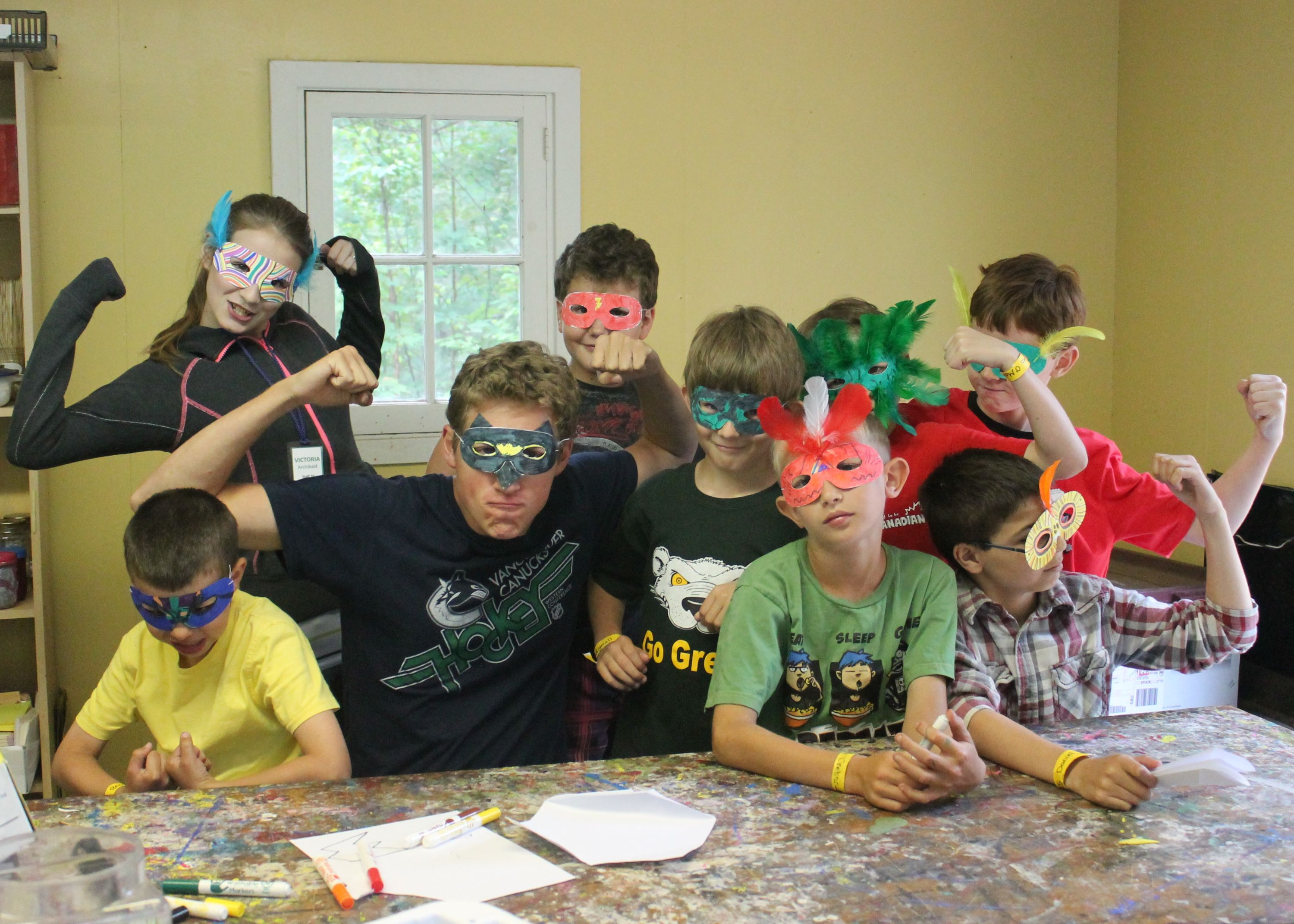campers wearing their craft from christian summer camp in haliburton ontario