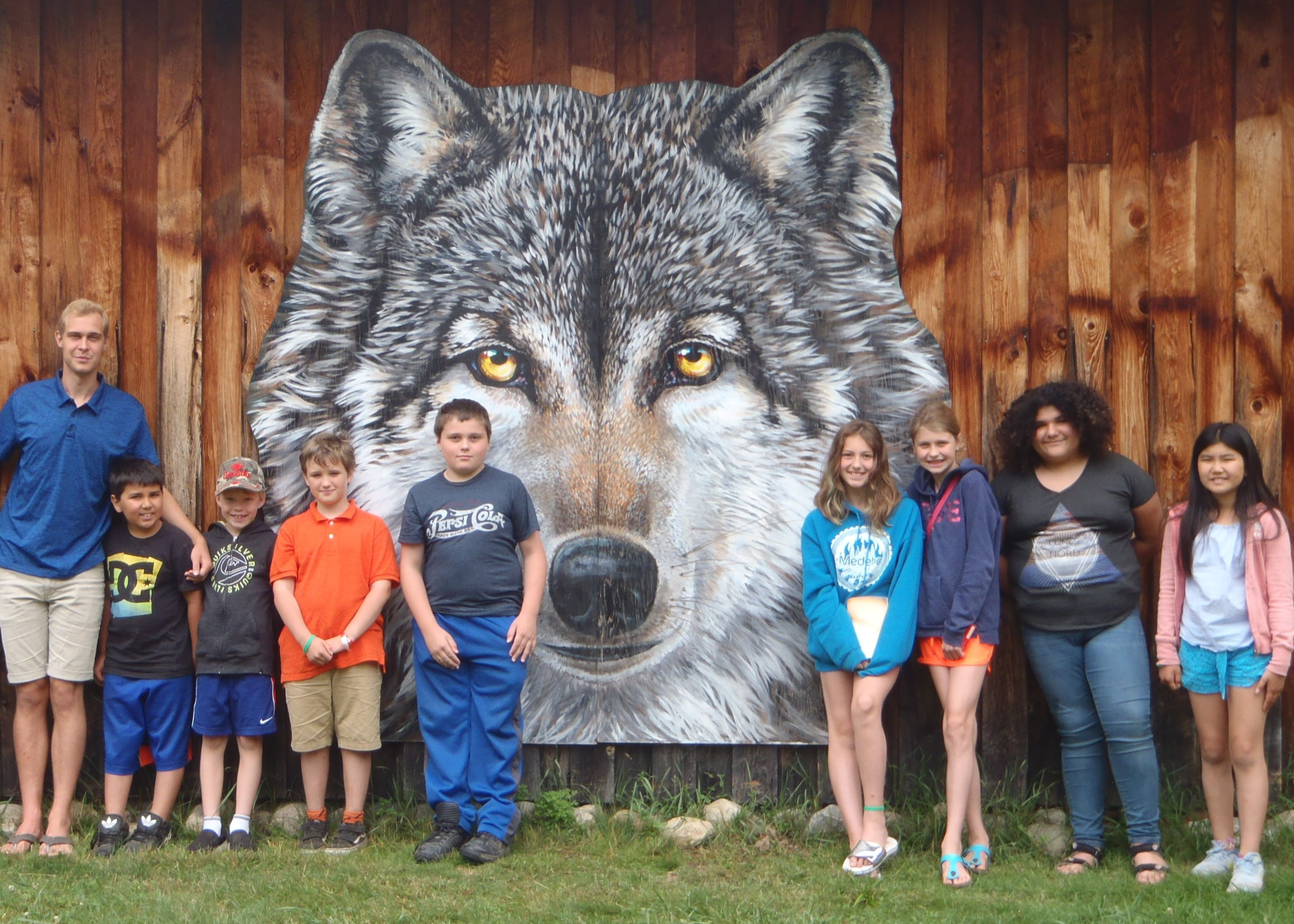 Campers at Haliburton Wolf Center with christian adventure summer camp in Haliburton, Ontario
