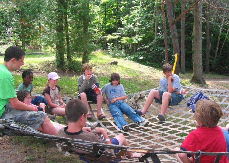"Campers hanging out on camp net ""website"" at christian adventure summer camp in haliburton, ontario"