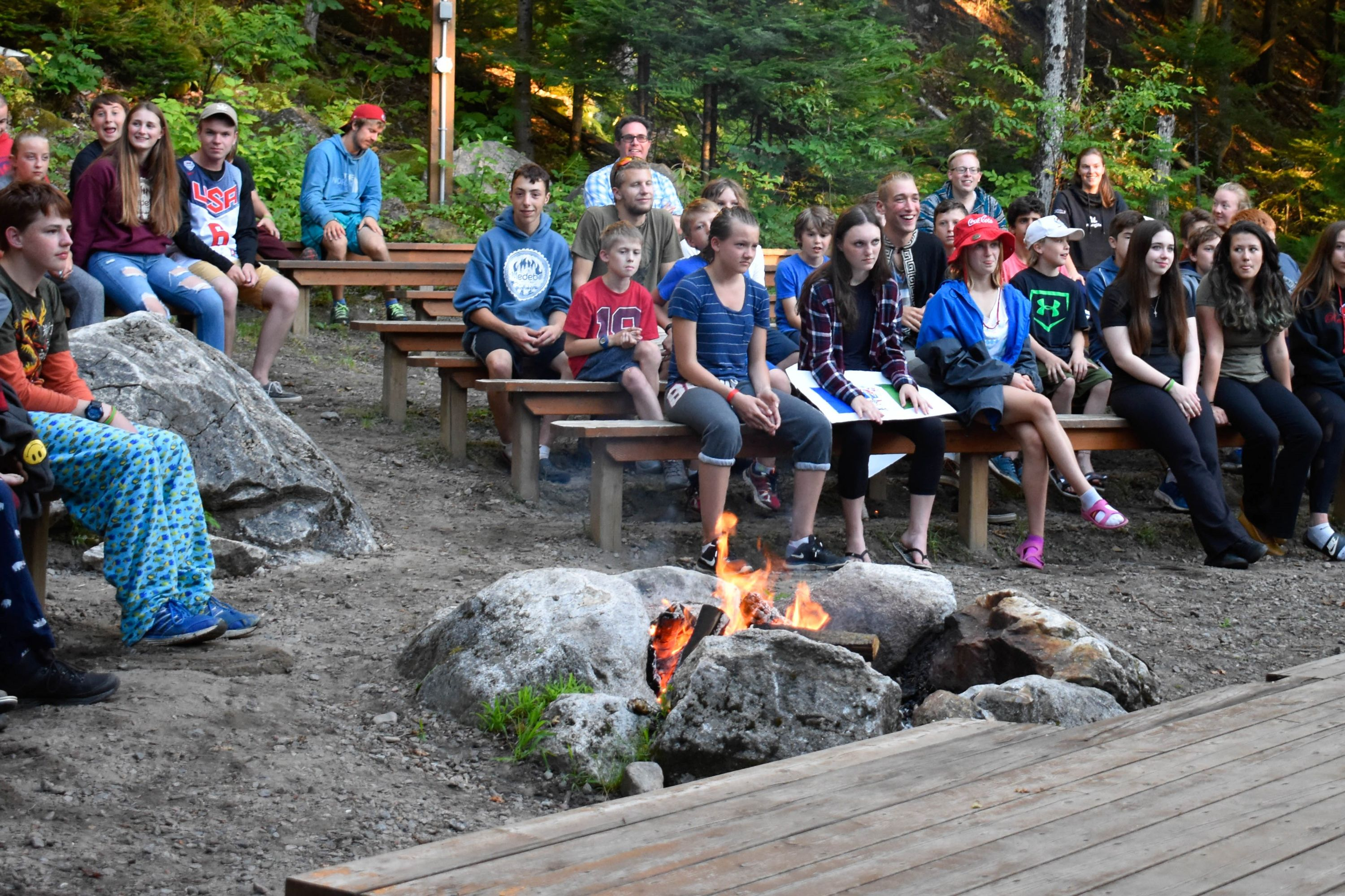 Summer Camp group at a fire in haliburton, ontario