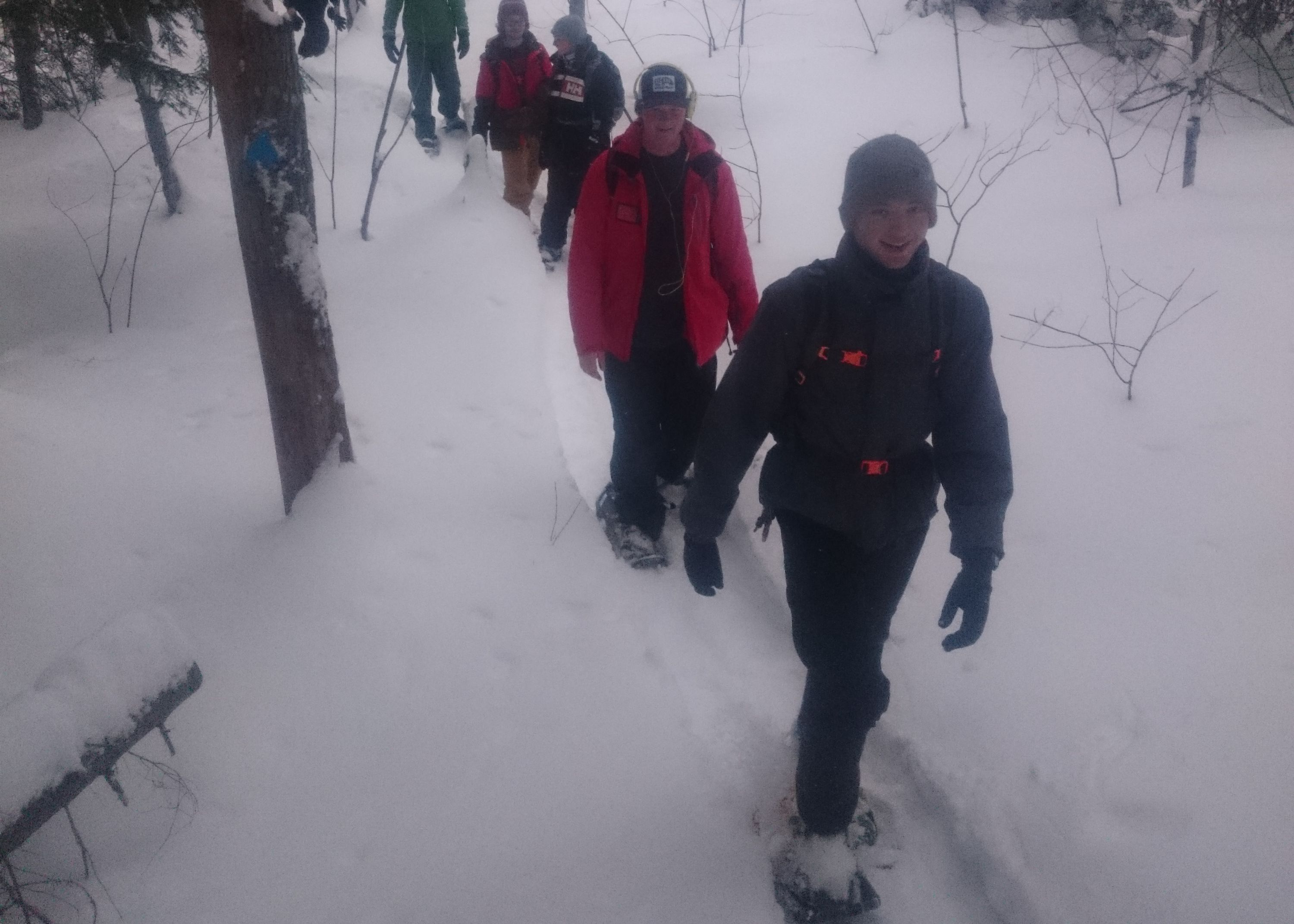 Group snowshoeing in the Haliburton Highlands
