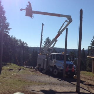 taking down hydro cables, haliburton, ontario