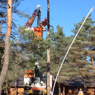 taking down overhead cables, haliburton, ontario