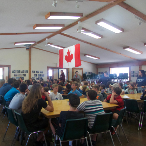 Medeba's dining hall full of campers
