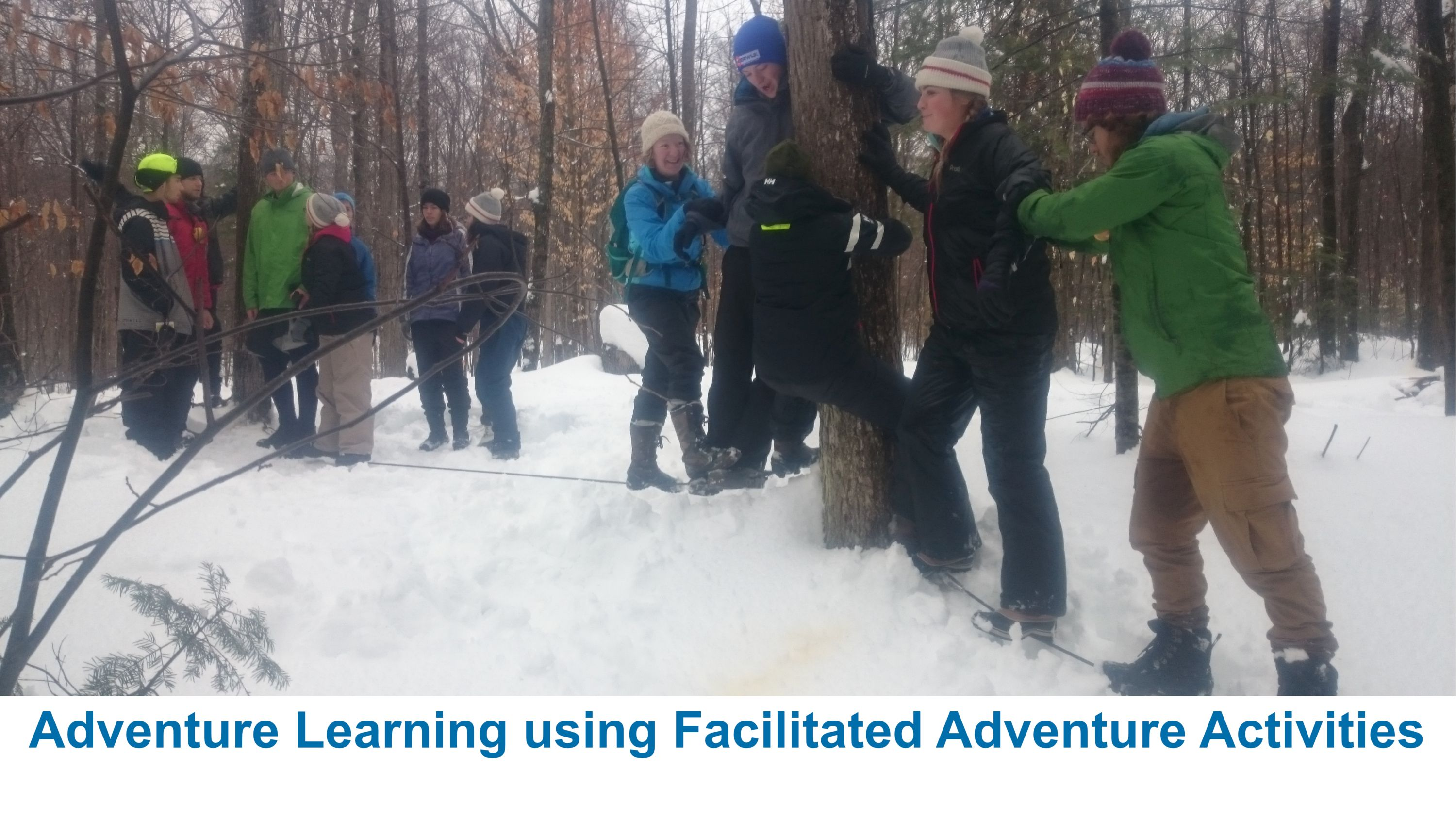 winter low ropes at Medeba Summer Camp, ontario