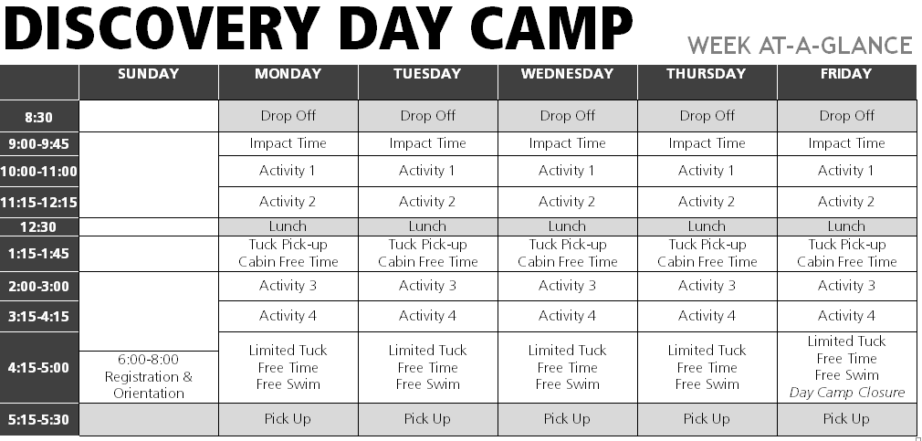 Medeba Summer Camp Ontario Summer Camp Discovery Day Camp Schedule