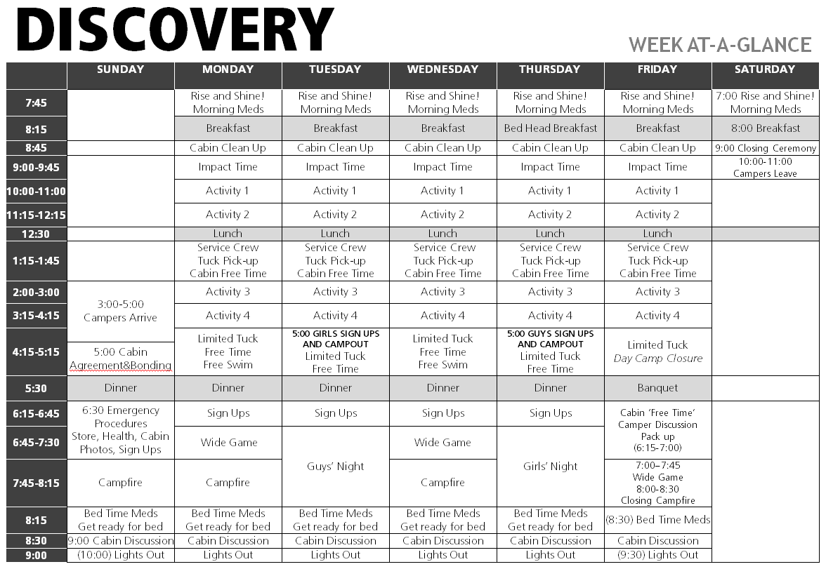 Discovery Camp Weekly Schedule