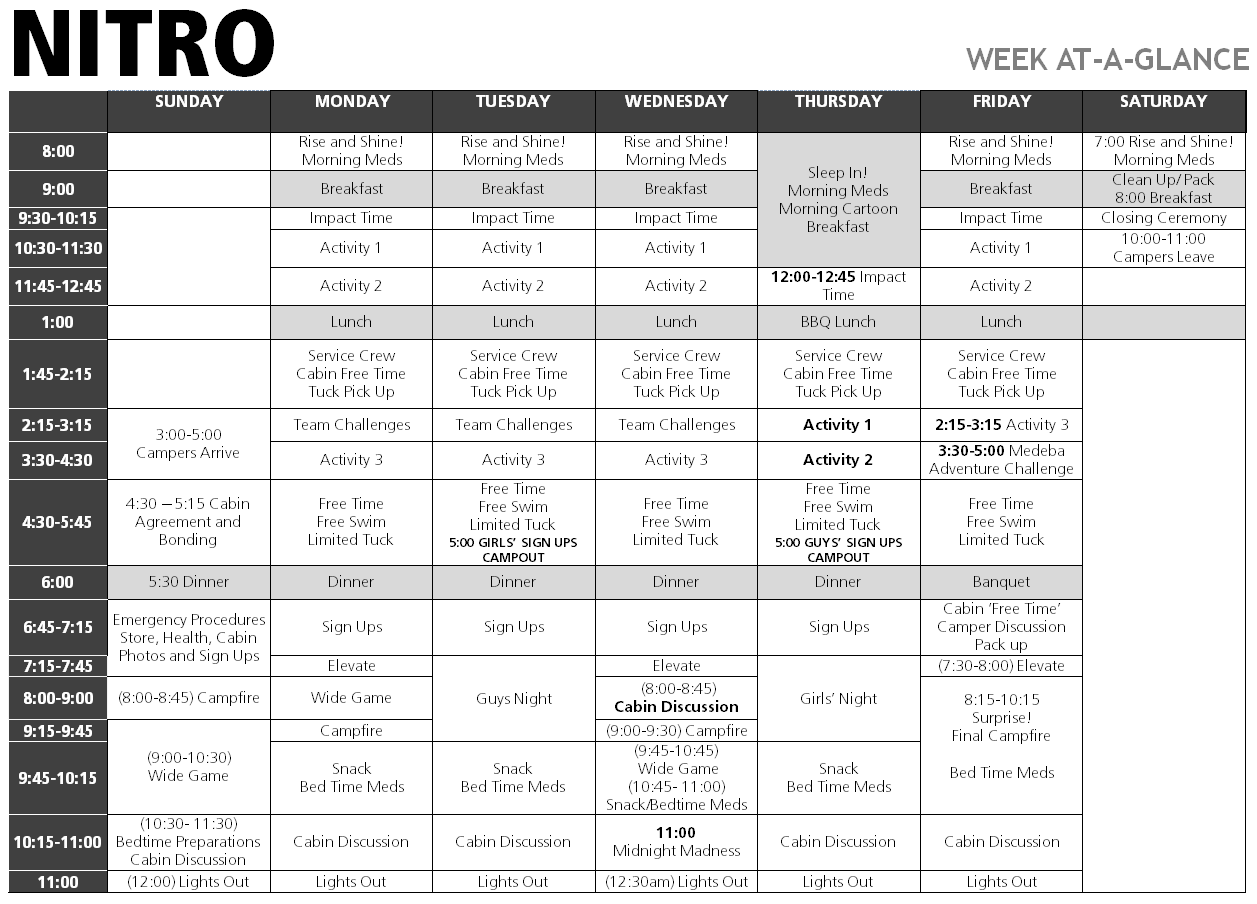 Nitro Summer Camp Weekly Schedule