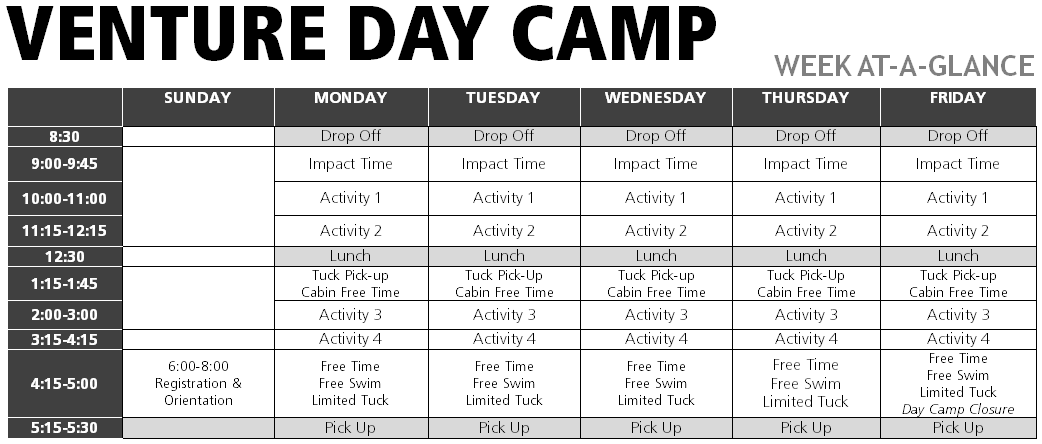Ontario Summer Camp Venture day camp schedule Medeba