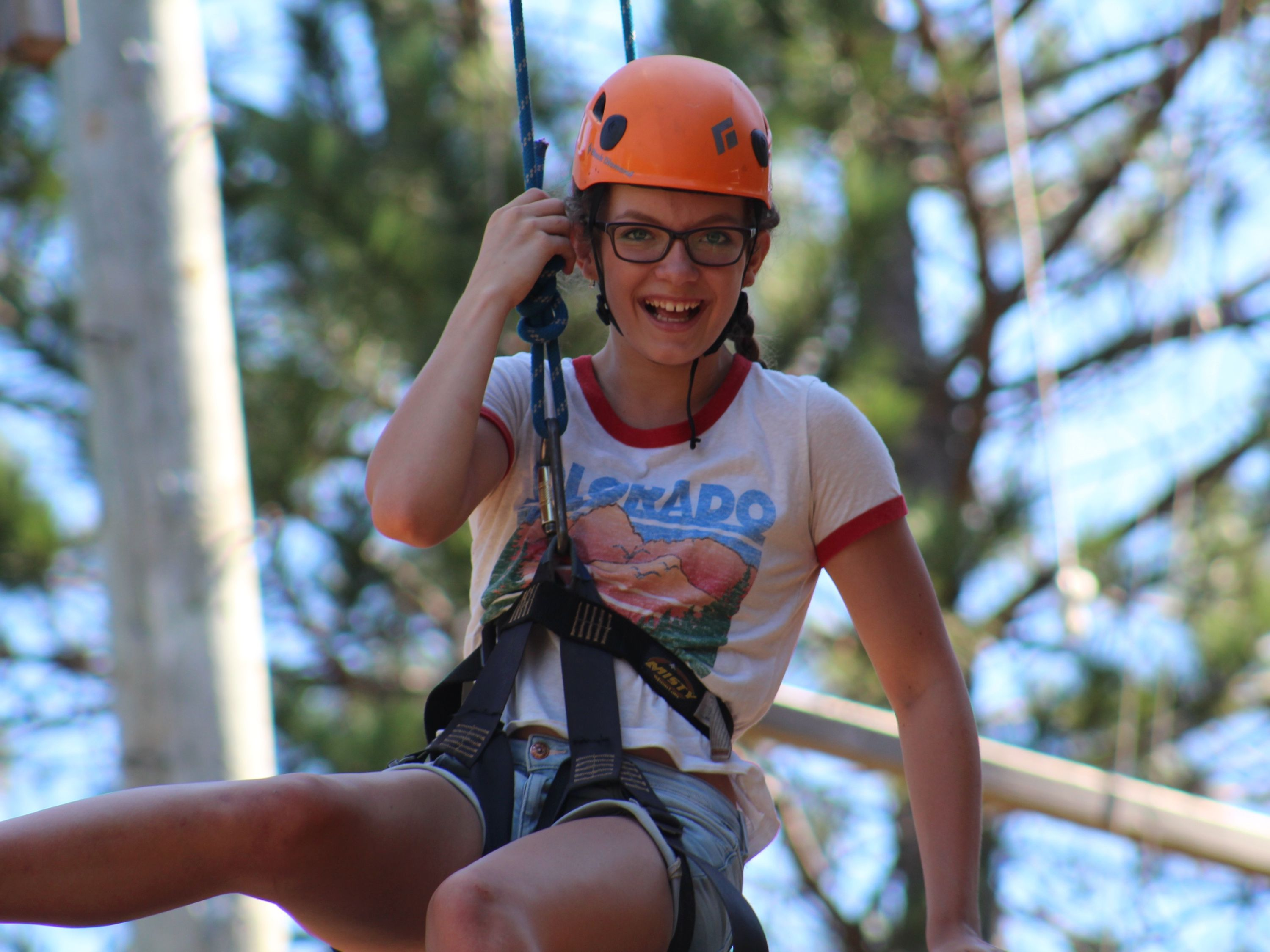Venture girl on ropes course, Summer Camp, Medeba