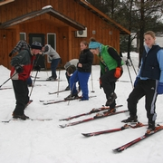 students putting on skis at Medeba retreat centre and summer camp